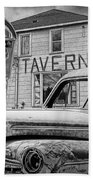 Expired A Black And White Photograph Of A Tavern Parking Meters And Vintage Junk Auto Beach Towel
