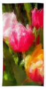 Expressionistic Spring Tulip Explosion Beach Towel