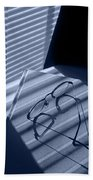 Eye Glasses Book And Venetian Blind In Blue Beach Towel
