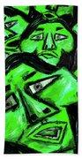 Faces - Green Beach Towel