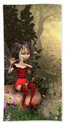 Forest Fairy Playing The Flute Beach Towel