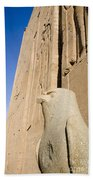 Falcon Statue At Edfu Beach Towel by Darcy Michaelchuk