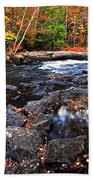 Fall Forest And River Landscape Beach Towel