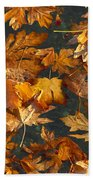 Fall Maple Leaves On Water Beach Towel