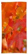 Fall Tree Leaves Art Prints Orange Red Autumn Beach Towel