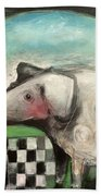 Fancy Dog At Picnic With Water Dish Beach Towel