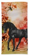 Fantasy Black Horse Beach Towel