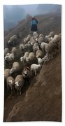 farmers bring their sheep to graze. Republic of Bolivia. Beach Towel