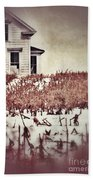Farmhouse In Winter Beach Towel