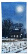 Farmhouse Under Full Moon In Winter Beach Towel