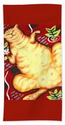 Fat Cat On A Cushion - Orange Cat Beach Towel