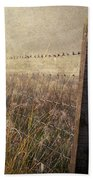 Fence And Field. Trossachs National Park. Scotland Beach Towel