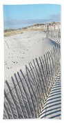Fences Shadows And Sand Dunes Beach Towel by Mother Nature