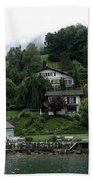 Few Houses On The Slope Of Mountain Next To Lake Lucerne In Switzerland Beach Towel