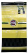 Fiat 500 Yellow With Racing Stripe Beach Towel