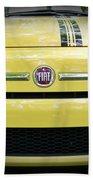 Fiat 500 Yellow With Racing Stripe Beach Sheet