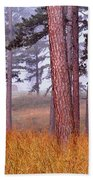 Field Pines And Fog In Shannon County Missouri Beach Towel
