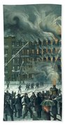 Fire In The New York World Building Beach Towel by American School