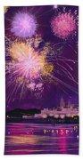 Fireworks In Malta Beach Towel