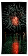 Fireworks Of Green And Red Beach Towel