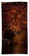Fireworks On River Thames Beach Towel