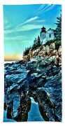 First Light At Bass Harbor Beach Towel