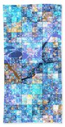 First Time Geometric Blue Beach Towel