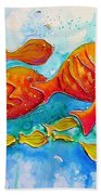 Fish Abstract Painting Beach Towel