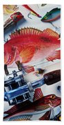 Fish Bookplates And Tackle Beach Towel by Garry Gay