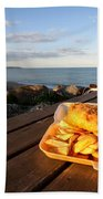 Fish 'n' Chips By The Beach Beach Towel by Rob Hawkins