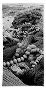 Fisherman Sleeping On A Huge Array Of Nets Beach Towel