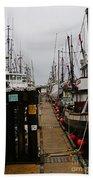 Fishing Boat Walkway Beach Towel