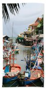 Fishing Boats Beach Towel by Adrian Evans