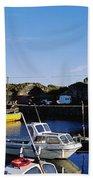 Fishing Boats At A Harbor, Slade Beach Towel
