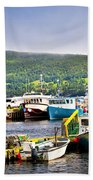 Fishing Boats In Newfoundland Beach Towel