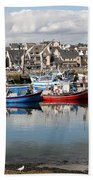 Fishing Boats In The Harbor Beach Towel