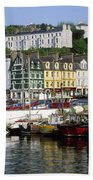 Fishing Boats Moored At A Harbor, Cobh Beach Towel