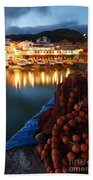 Fishing Harbour At Dusk Beach Towel