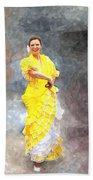 Flamenco Dancer In Yellow Beach Towel