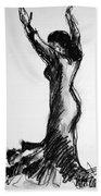 Flamenco Sketch 3 Beach Towel