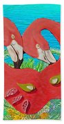 Flamingo Mask 3 Beach Towel