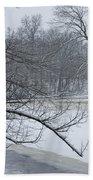 Flat River In Winter No.026 Beach Towel