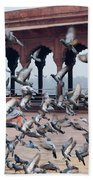 Flight Of Pigeons Inside The Jama Masjid In Delhi Beach Towel