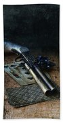 Flint Lock Pistol And Playing Cards Beach Towel