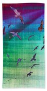 Flock Of Seagulls Beach Towel