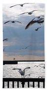 Flocking Gulls Beach Towel