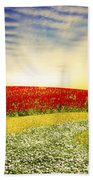Floral Field On Sunset Beach Towel