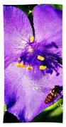 Flower And Bee Beach Towel