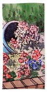 Flower Bed Sketchbook Project Down My Street Beach Towel