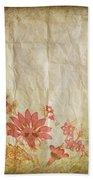 Flower Pattern On Old Paper Beach Towel